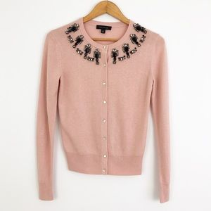 Ann Taylor Pink Beaded Button Down Cardigan